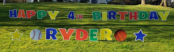 Large sports-themed birthday lawn sign