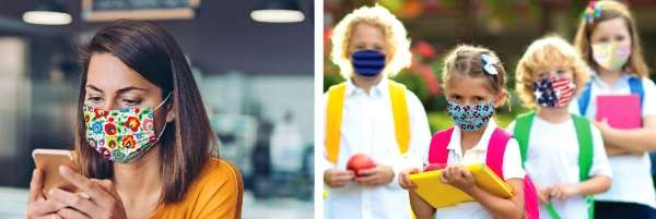 Adult and children in facemasks
