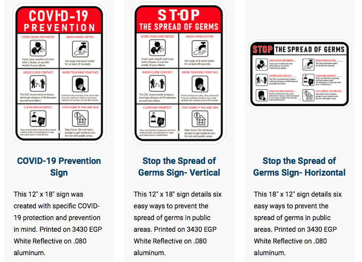 Covid 19 prevention wall signs