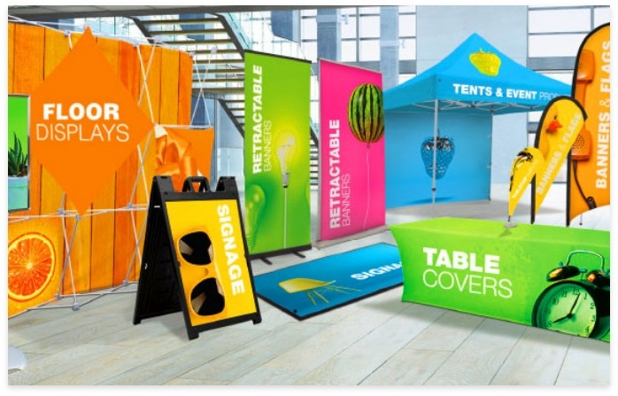 floor displays and banners