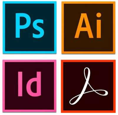 Adobe Photoshop, Adobe Illustrator, Adobe InDesign, Adobe Reader icons